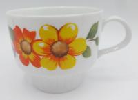 Vintage Bavaria Tirschenreuth Germany Teacup White Porcelain Floral Flower