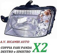 COPPIA FARI FANALE PROIETTORE ANTERIORE DX-SX FIAT PANDA DAL 2003 AL 2009 GIALLO