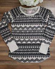 Full Tilt Essentials Womens Top Knit Thermal Tee Black White size XL