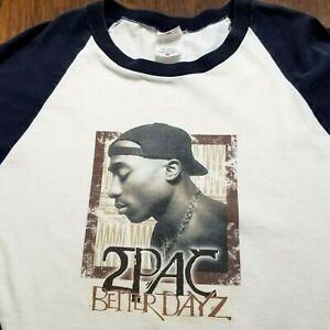 Vitnage 2002 2Pac Better Dayz T-Shirt Medium Interscope Records Rap Tee Raglan