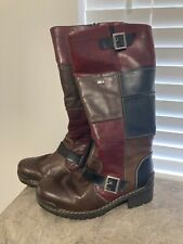 Ladies Rieker Calf Length Boots Patchwork Leather Wool Lined Size UK 6