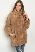 New Camel Fluffy Warm Winter Pockets Long Sleeve Tunic Sweater S/M-L/XL