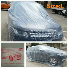 HOT Clear Plastic Temporary Disposable Fit SUV Car Cover Rain Dust Snow Garage L