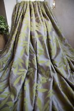 LEAF PAIR OF CURTAINS,66WX72D,MINK,LIME GREEN,DUNELM,EYELET,VELVET EMBOSSED,SILK
