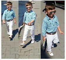 Toddler Kids Boy Child Fashion Clothes Boys Outfits Suits T-shirt+Belt+Trousers