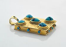 Middle Eastern PRAYER Box Wish Box LOCKET 18k Gold Spider Web Turquoise PENDANT