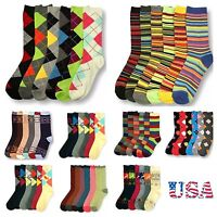 6 Pair Lot Crew Argyle Socks Uniform School Multi Pattern Dress Unisex  9-11