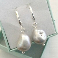 Freshwater gray Cultured Pearl 11-12mm Silver Drop Earrings