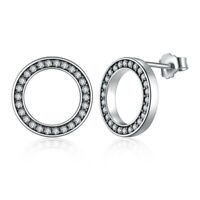 VOROCO S925 Sterling Silver Stud Earrings Circle-shape With CZ Fit Women Jewelry