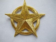 """#5007 2-1/2"""" Golden Star w/Golden Circle/Ring Embroidery Iron On Applique Patch"""