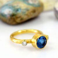 Handmade Hammered Blue Topaz W/ Topaz Stack Ring Gold Over 925K Sterling Silver