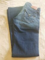 "Lucky Brand Button Fly Jeans Womens Sz 4 / 27 Blue Lil Maggie Flare 34"" Inseam"