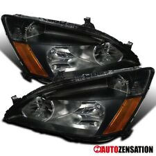 For 2003-2007 Honda Accord LX EX 2Dr 4Dr Pair Black Headlights Lamps+Amber
