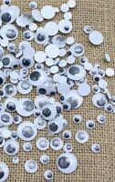 120 x MIXED WIBBLY WOBBLY GOOGLY EYES. CRAFTS, STICK ON STICKERS, SELF ADHESIVE