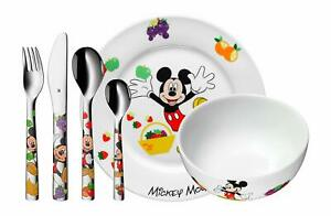 WMF Disney Mickey Mouse Tableware Children Girls 6 Pieces Plate Bowl And Cutlery