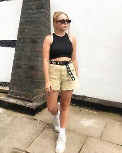 Womens girls racer crop top Tank Vest Black Slinky White back Sport style Camo