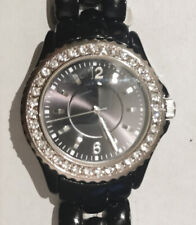 NEW LOOK Unisex Watch Black With Rhinestone Bezel NOS New Battery Fitted