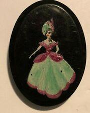 Plastic Brooch 6 x 4 cm's Art Deco Hand painted Crinola Ladies