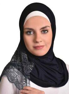 AL- Amira hijab-Women Muslim Cotton Scarf  Ameera Hijab Islamic Black