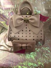 Betsey Johnson Plae Pink Studded Satchel W Free Matching Wallet