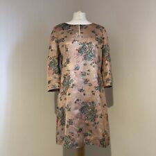 NOA NOA Tunic Dress Size Large Floral Peach Sparkle 3/4 Sleeve Lined Boho