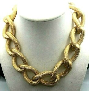 VINTAHE SIGNED ERWIN PEARL GOLD TONE LARGE CHAIN LINK NECKLACE