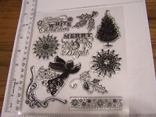 DREAMING OF A WHITE CHRISTMAS ANGEL CLEAR STAMPS Merry Bright Snowflakes Holly