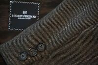Hickey Freeman H.F. LTD Brown Windowpane Cashmere Blend Sport Coat Jacket Sz 43R