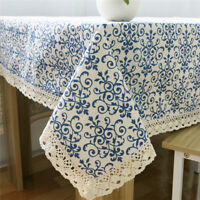Tablecloth Blue And White China Agamemnon Navy Cotton Sateen Porcelain Decor G