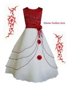 Blumenmädchenkleid ~ Festkleid ~ Selina ~ in bordeaux-weiß ~ mit Rückenschnürung