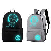 Student Luminous Backpack School Shoulder Bag USB Charging Anti-theft HE