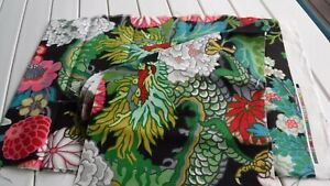 SCHUMACHER CURTAIN FABRIC DESIGN Chiang Mai Dragon EBONY 100% LINEN Usable Scrap