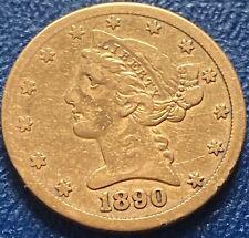 1890 CC Five Dollars Gold Half Eagle Liberty Head Carson City RARE Cir. #25477