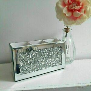 New Beautiful Design Makeup Brush Holder organizer Crushed Diamond Jewel Mirror
