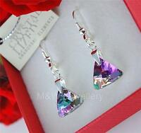 925 STERLING SILVER EARRINGS *TRIANGLE* VITRAIL LIGHT CRYSTALS FROM SWAROVSKI®