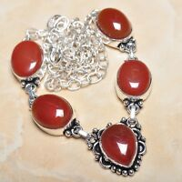 "Handmade Natural Carnelian Jasper 925 Sterling Silver Necklace 21"" #N00420"