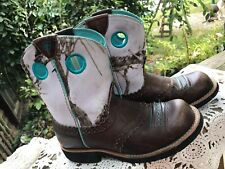 PAIR OF YOUTH GIRLS SIZE 2 CAMO DESIGN WITH TEAL TRIM LEATHER COWBOY BOOTS