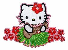 Hello Kitty Aloha Kitty Hawaiian Flower Girls Embroidered Iron On Applique Patch