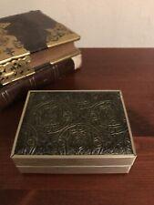Vintage Warner Art Nouveau Deco Gold Black Plastic Jewelry Ring Wedding Set Box