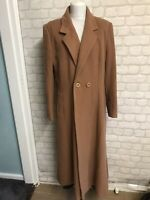 David Barry Vintage Long Brown Cashmere Blend Coat Size 18