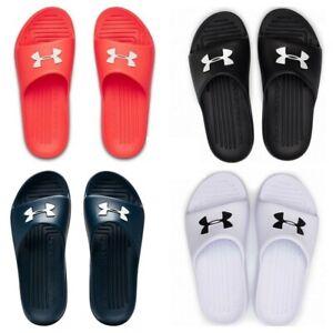 Under Armour Mens Sliders Core PTH Beach Slides Shoes Sandals Black White Size