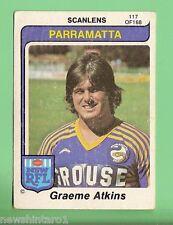 1980  PARRAMATTA EELS   SCANLENS RUGBY LEAGUE  CARD #117  GRAEME ATKINS