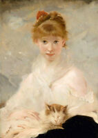 Stunning Oil painting portrait nice young girl with her pet cat no framed canvas