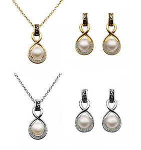 18KGP Gold Plated Pearl Crystal Drop Necklace Earrings Christmas Xmas Gift
