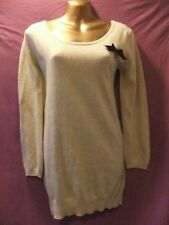 LADIES Sweewe Paris 14 PALE BEIGE KNIT/BOW BACK DETAIL/LONG SLEEVED MINI FROCK