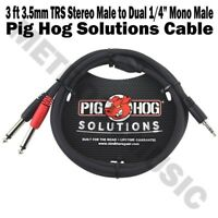 "Pig Hog 3ft 3.5mm Male to Dual 1/4"" Male Stereo Breakout Cable TRS Mini 1/8"""