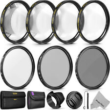 55MM Lens Filter Kit - Macro Close Up Set & UV CPL ND4 w/ Pouch for Nikon Canon