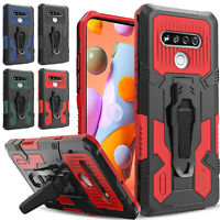 For LG K51 / Reflect L555DL Case, Kickstand Clip Case + Tempered Glass Protector