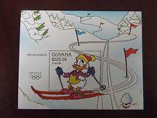 MNH WALT DISNEY STAMP SHEET GUYANA 1992 ALBERTVILLE WINTER OLYMPICS SLALOM