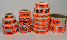 16 Rolls Bakery Food Packaging Retail Stickers Labels Neon Orange Grocery Bread